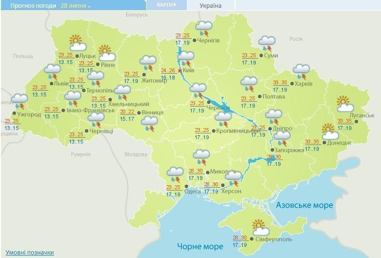 Прогноз погоди вУкраїні насьогодні 27 липня: спекотно, місцями дощі