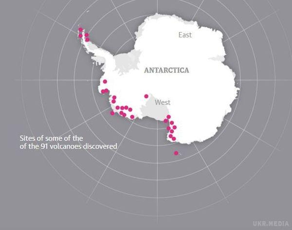 Вчені знайшли вАнтарктиді 91 новий вулкан
