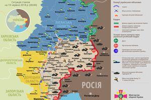 Карта ООС (АТО) станом на 19 червня 2018. Ситуація на сході країни (карта АТО) станом на 12:00 19 червня 2018 року за даними РНБО України.