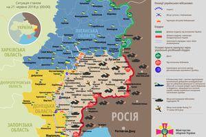 Карта ООС (АТО) станом на 21 червня 2018. Ситуація на сході країни (карта АТО) станом на 12:00 21 червня 2018 року за даними РНБО України.